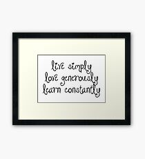 Inspiration - Live Simply Quote Framed Print