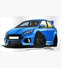 Ford Focus (Mk3) RS Blue Poster