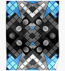 Blue Black Vector Abstract Pattern  Poster