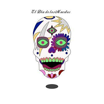 Skull El Día de los Muertos  by bigpepperdog