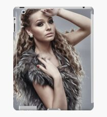 Fashion model on gray background, closeup iPad Case/Skin