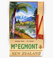 Mt. Egmont New Zealand Vintage Travel Poster Poster