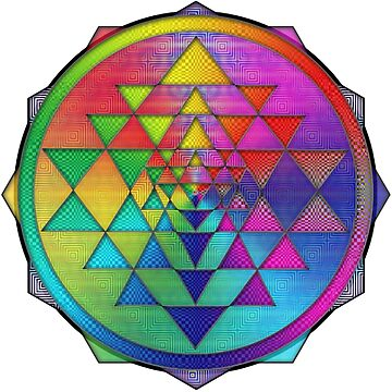 Super Psychedelic Rainbow Sri Yantra by shylolove