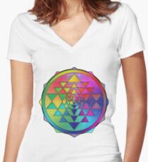 Super Psychedelic Rainbow Sri Yantra Women's Fitted V-Neck T-Shirt