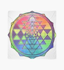 Psychedelic Rainbow Sri Yantra for Prosperity Scarf