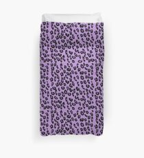 Animal Print, Spotted Leopard - Purple Black Duvet Cover