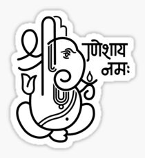 Ganesh Ganesa Ganapati 5 (black white) Sticker