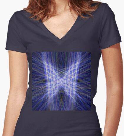 Laser Butterfly Fitted V-Neck T-Shirt