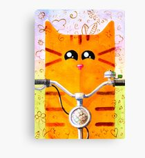 Cat on Bike Canvas Print