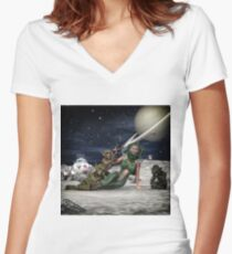 Vintage Sci-Fi 2 Women's Fitted V-Neck T-Shirt
