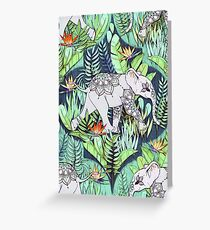 Little Elephant on a Jungle Adventure – faded vintage version Greeting Card