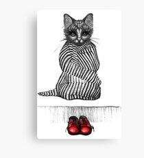 Tabby and the red shoes Canvas Print