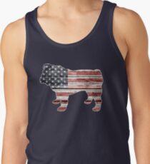 Patriotic Bulldog, American Flag Men's Tank Top