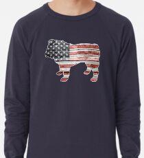 Patriotic Bulldog, American Flag Lightweight Sweatshirt