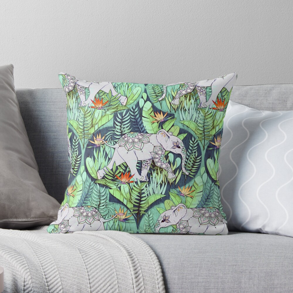 Little Elephant on a Jungle Adventure – faded vintage version Throw Pillow