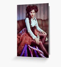 Steampunk victorian girl with tentacles Greeting Card