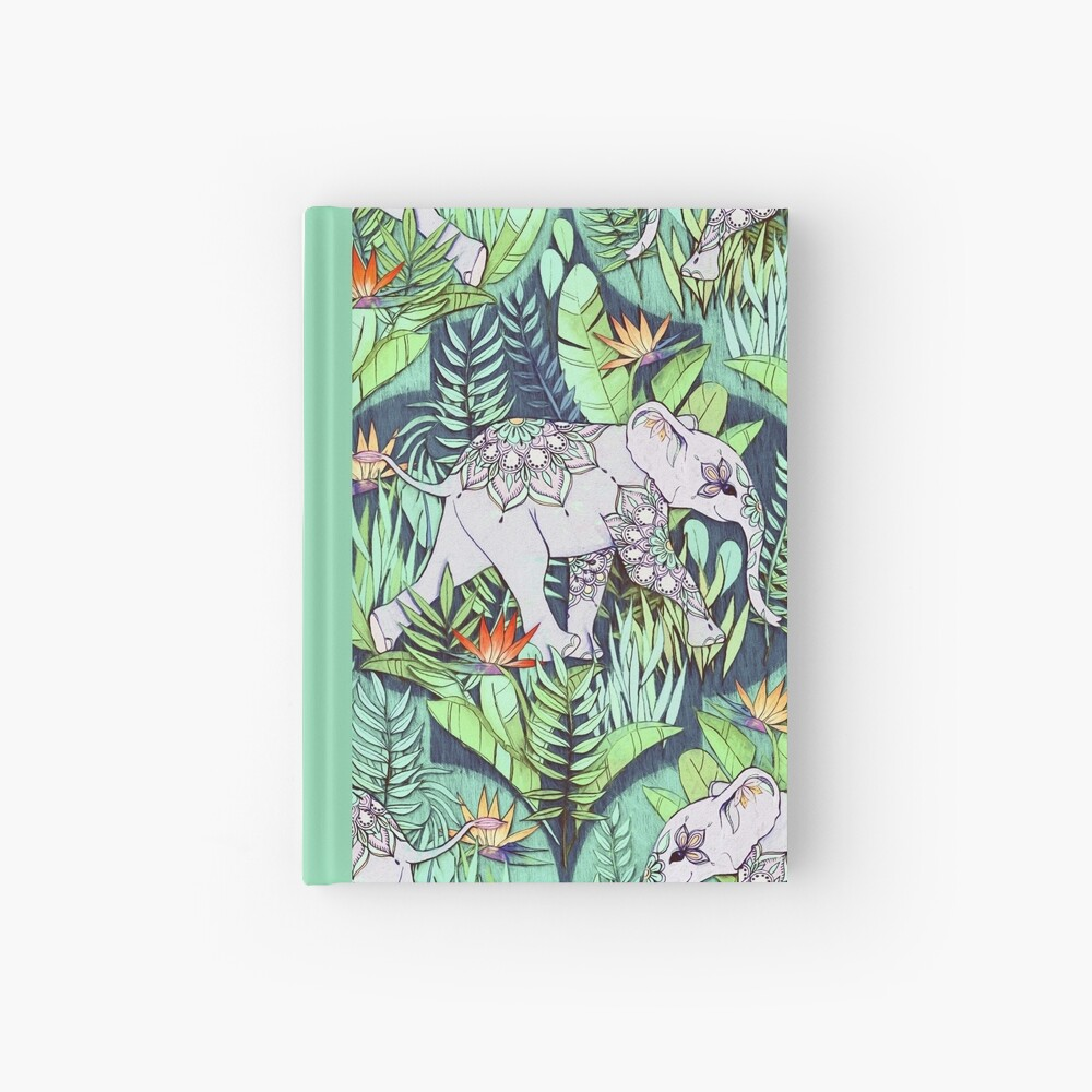 Little Elephant on a Jungle Adventure – faded vintage version Hardcover Journal