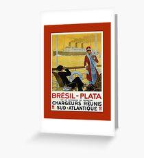 Vintage 1920s ocean liner cruises to Brazil Plata advert Greeting Card