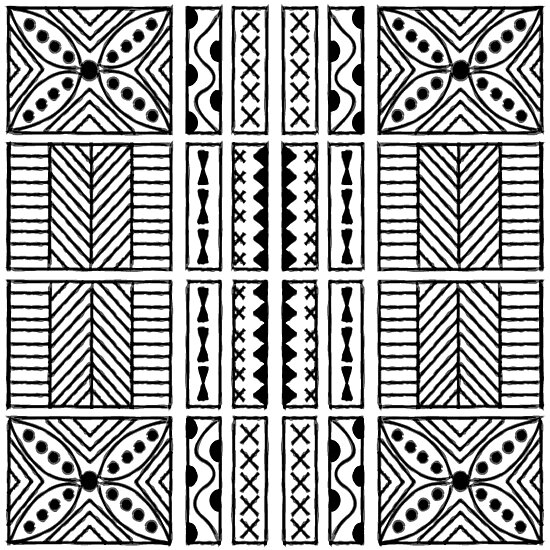 Black and white geometric hawaiian bark cloth tribal tattoo markings kapa by podartist