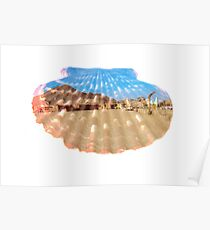double exposure seashell with desert scenery Poster