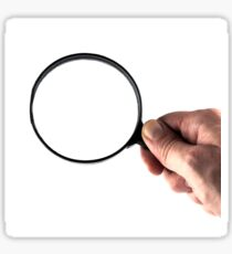 hand and magnifying glass  Sticker