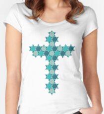 Camiseta entallada de cuello redondo Estrella azul de David Ilusión óptica  superpuesta a una cruz 204ebf80ab052