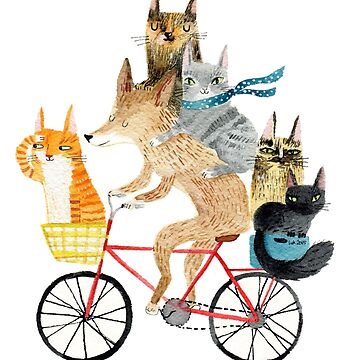 Dog and cats cycling by surfingsloth