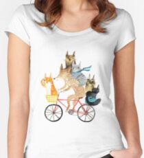 Dog and cats cycling Women's Fitted Scoop T-Shirt