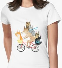 Dog and cats cycling Women's Fitted T-Shirt