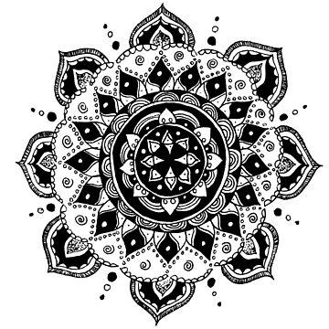 Hand Drawn Mandala #1 by TequilaSheila