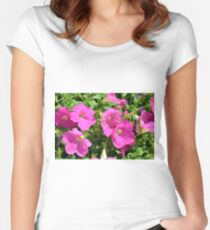 Pink flowers natural background. Women's Fitted Scoop T-Shirt