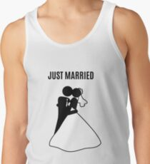 Just  Married Print Stick Figure Tank Top