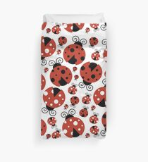 Ladybugs (Ladybirds, Lady Beetles) - Red Black Duvet Cover