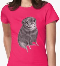 Sweet Black Pug Womens Fitted T-Shirt