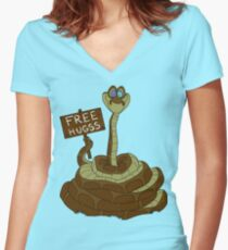 Free Hugss Women's Fitted V-Neck T-Shirt
