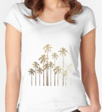 Glamorous Gold Tropical Palm Trees on White Women's Fitted Scoop T-Shirt