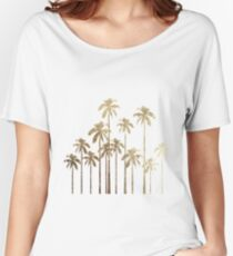 Glamorous Gold Tropical Palm Trees on White Women's Relaxed Fit T-Shirt