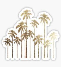 Bezaubernde Goldtropische Palmen auf Weiß Sticker