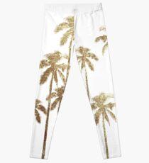 Glamorous Gold Tropical Palm Trees on White Leggings