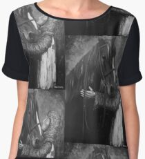 Knight and Horse in Monochrome Chiffon Top