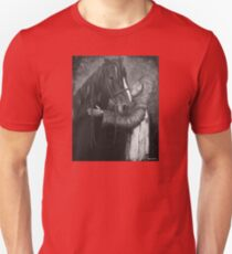 Knight and Horse in Monochrome Unisex T-Shirt