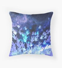H.E.L.L.O. / blue Throw Pillow