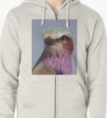 Lilac Breasted Roller Close Up  Zipped Hoodie