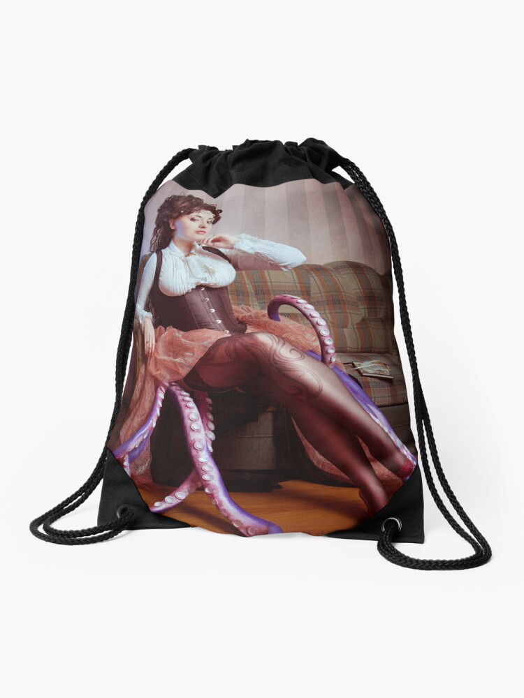 6360f910d713 Steampunk victorian girl with tentacles | Drawstring Bag