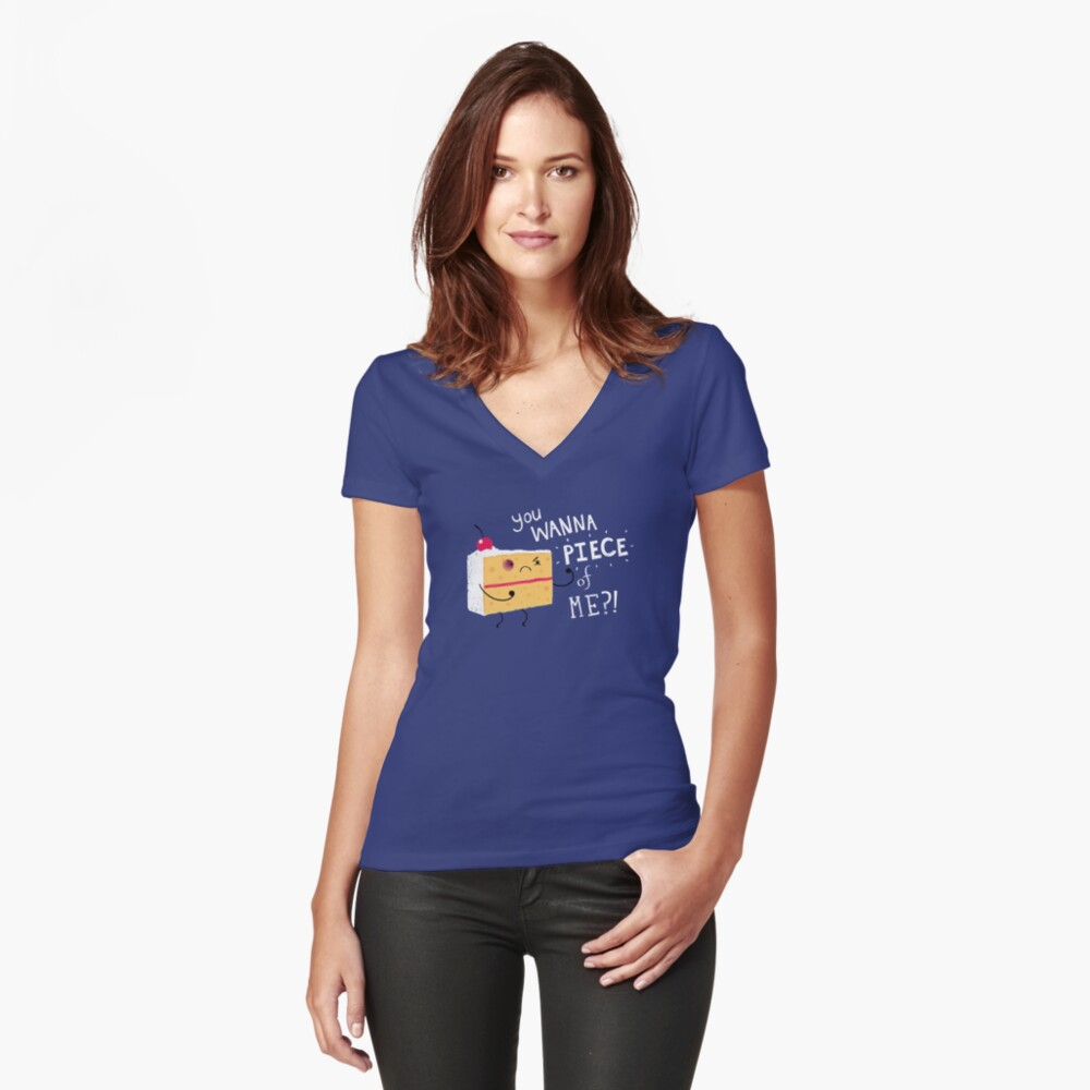 Angry Cake Women's Fitted V-Neck T-Shirt Front