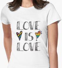 Love Is Love Doodles LGBT Women's Fitted T-Shirt