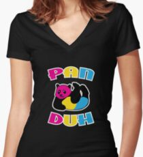 Pan Duh Panda Pansexual LGBT Pride Women's Fitted V-Neck T-Shirt