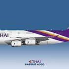 Illustration of Thai Airways Airbus A380 - Blue Version by © Steve H Clark