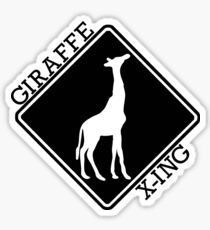 GIRAFFE CROSSING ROAD SIGN X-ING BLACK Sticker