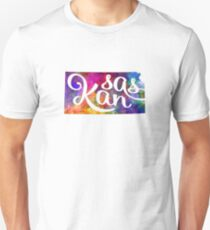 Kansas US State in watercolor text cut out Unisex T-Shirt